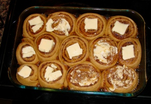 Butter topped cinnamon rolls (this is what they look like after rising)