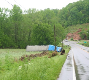Tractor Trailer pushed off of road