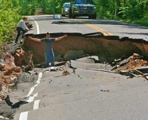 Washed out road on Hwy. 438