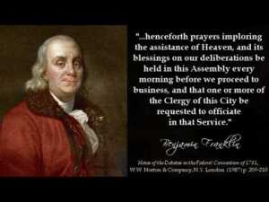 Benjamin Franklin sets precedent for prayer before Assembly