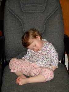 Doodlebug as sa baby zonked out in an office chair
